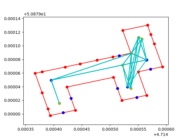 Graph (points connected by lines) showing possible paths through a corridor in a building.