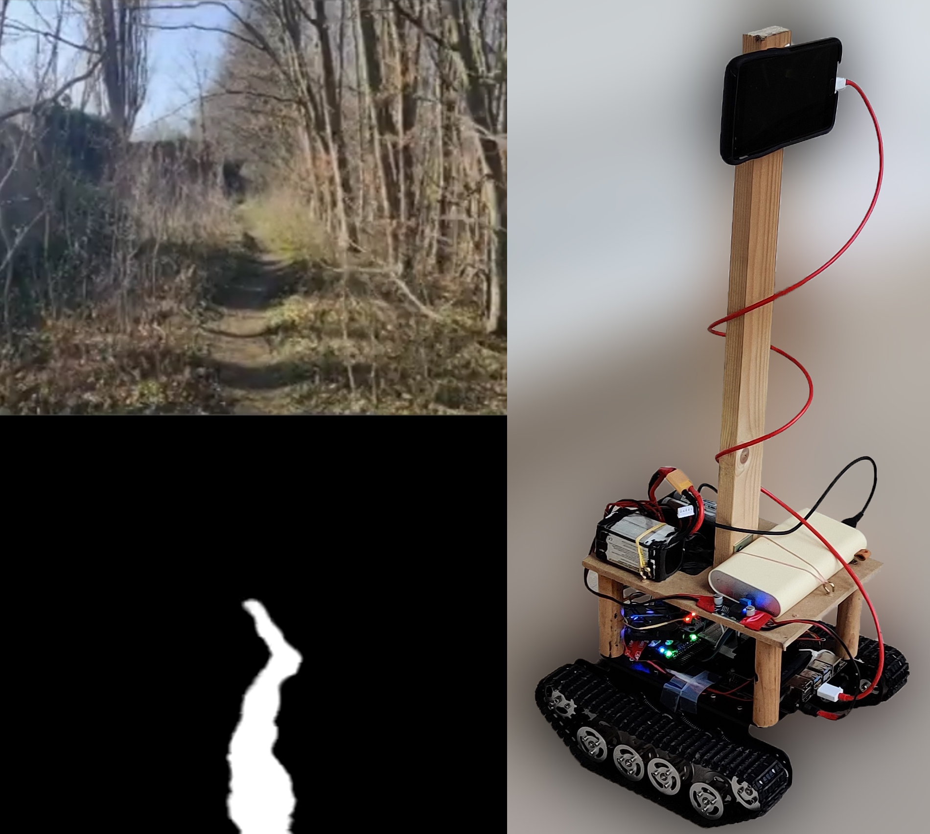 A collage of the Autonomous Rover's vision system and hardware.