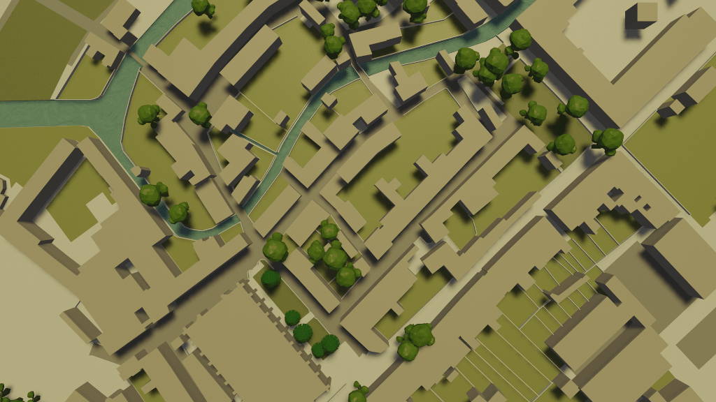 Computer rendered top-down view of buildings and river